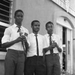 Sports Trophy Winners. Errol Thomas (left) & Nicholas Jacobs (right). Teacher, Uthan Noel (centre).