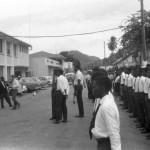 Bishop's College students & staff await inspection