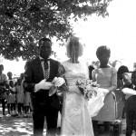 Bride arriving with Anthony Gay & Elvita Gabriel.
